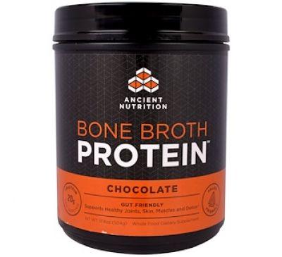 """Dr. Axe / Ancient Nutrition, """"Белок костного бульона"""", белковый порошок с шоколадным вкусом, 17,8 унции (504 г)"""