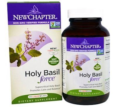 """New Chapter, """"Сила базилика священного"""", пищевая добавка на основе базилика священного, 120 капсул в растительной оболочке с жидкостью"""