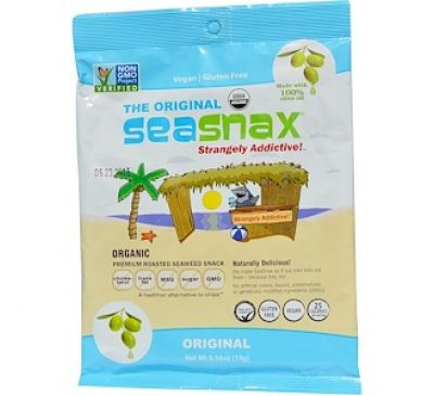 "SeaSnax, ""Classic"" Olive, Roasted Seaweed Snack, 5 sheets - .54 oz (15 g)"