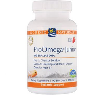 Nordic Naturals, ProOmega Junior, Strawberry, 500 mg, 90 Soft Gels