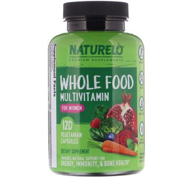 NATURELO, Whole Food Multivitamin for Women, 120 Vegetarian Capsules