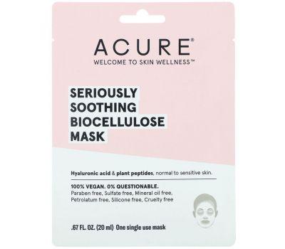 Acure, Seriously Soothing, Biocellulose Mask, 1 Single Use Mask, .67 fl oz (20 ml)