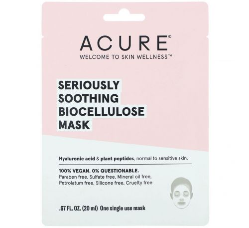 Acure, Seriously Soothing, Biocellulose Mask, 1 Single Use Mask, .67 fl oz (20 ml)