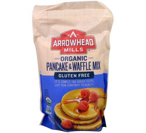 Arrowhead Mills, Органическая смесь для блинов и вафель, без глютена, 26 унций (737 г)