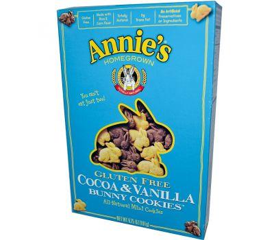 Annie's Homegrown, Печенья в форме кроликов без клейковины, с какао и ванилью, 6.75 унций (191 г)