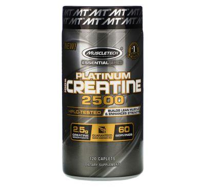 Muscletech, Essential Series, Platinum 100% Creatine 2500, 120 Caplets