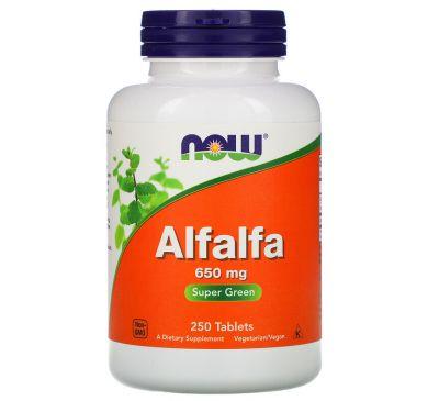 Now Foods, Люцерна (Alfalfa), 650 мг, 250 таблеток