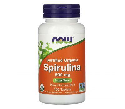 Now Foods, Сертифицированная органическая спирулина, 500 мг, 100 таблеток