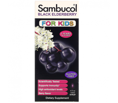 Sambucol, Черная бузина, поддержка иммунной системы, для детей, сироп, 120 мл