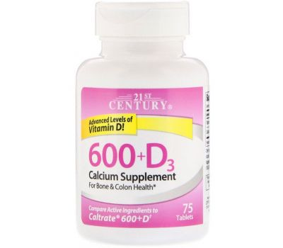 21st Century, 600+D3, Calcium Supplement, 75 Tablets