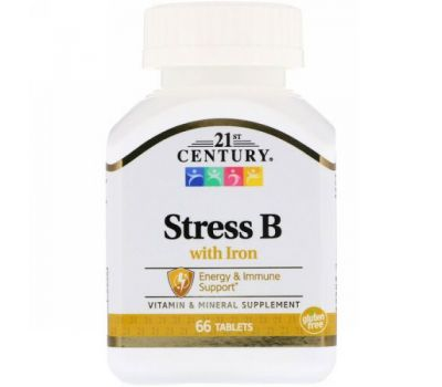 21st Century, Stress B with Iron, 66 Tablets