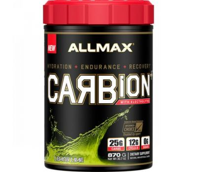 ALLMAX Nutrition, CARBion+ with Electrolytes + Hydration, Gluten-Free + Vegan Certified, Lemon Lime, 1.91 lbs (870 g)