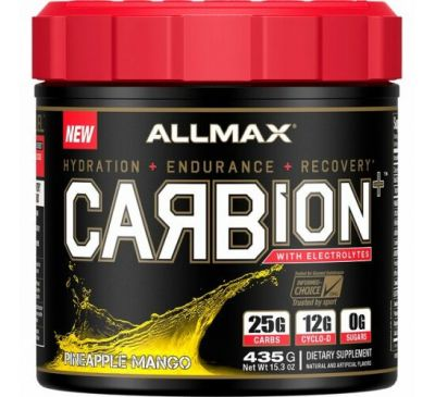 ALLMAX Nutrition, CARBion+ with Electrolytes + Hydration, Gluten-Free + Vegan Certified, Pineapple Mango, 15.3 oz (435 g)