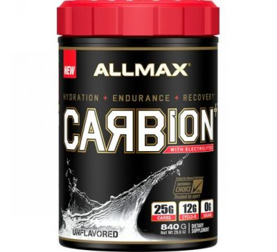 ALLMAX Nutrition, CARBion+ with Electrolytes + Hydration, Gluten-Free + Vegan Certified, Unflavored, 1.85 lbs (840 g)