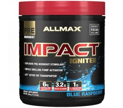 ALLMAX Nutrition, Impact Igniter Pre-Workout, Blue Raspberry, 11.6 oz (328 g)