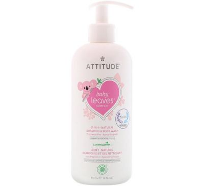 ATTITUDE, Baby Leaves Science, 2-In-1 Natural Shampoo & Body Wash, Fragance-Free, 16 fl oz (473 ml)