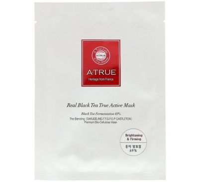 ATrue, Real Black Tea True Active Mask, 1 Sheet, 0.88 oz (25 g)