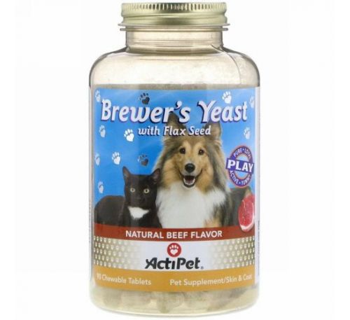 Actipet, Brewer's Yeast, For Dogs & Cats, Natural Beef & Garlic Flavor, 90 Chewable Tablets