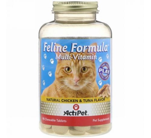 Actipet, Feline Formula, For Cats, Natural Chicken & Tuna Flavor, 90 Chewable Tablets