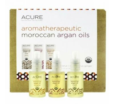 Acure, Aromatherapeutic Moroccan Argan Oils Trio Set, Coconut, Rose, Citrus Ginger, 3,1 fl oz (30 ml) Each