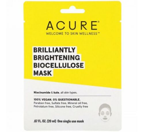 Acure, Brilliantly Brightening, Biocellulose Mask, 1 Single Use Mask, .67 fl oz (20 ml)