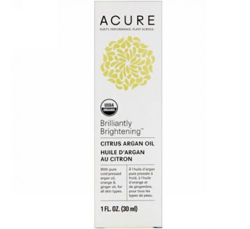 Acure, Brilliantly Brightening, Citrus Argan Oil, 1 fl oz (30 ml)