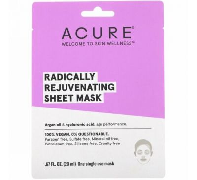 Acure, Radically Rejuvenating Sheet Mask, 1 Single Use Mask, .67 fl oz (20 ml)