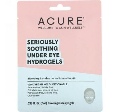 Acure, Seriously Soothing Under Eye Hydrogels, 2 Single Use Eye Gels, 0.236 fl oz (7 ml)