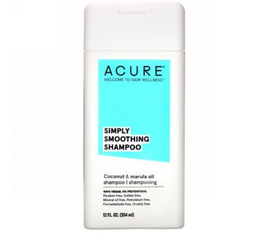 Acure, Simply Smoothing Shampoo, Coconut & Marula Oil, 12 fl oz (354 ml)