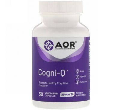 Advanced Orthomolecular Research AOR, Cogni-Q, 30 вегетарианских капсул