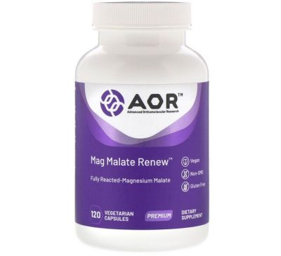 Advanced Orthomolecular Research AOR, Mag Malate Renew, 120 растительных капсул