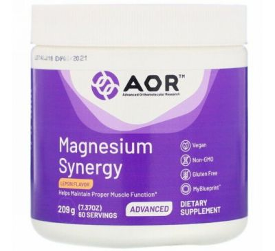 Advanced Orthomolecular Research AOR, Magnesium Synergy, порошок, лимонный вкус, 209 г (7,37 унции)