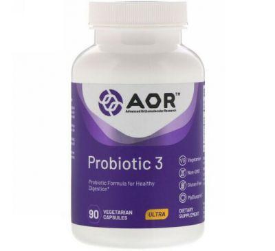 Advanced Orthomolecular Research AOR, Probiotic 3, 90 растительных капсул
