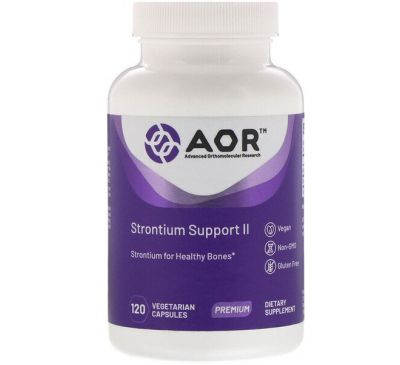 Advanced Orthomolecular Research AOR, Strontium Support II, 120 вегетарианских капсул