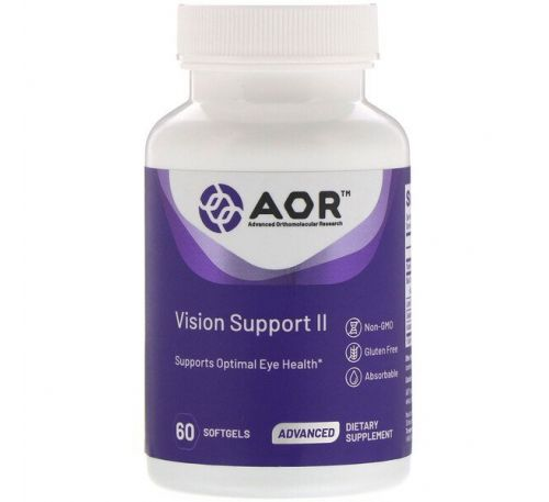 Advanced Orthomolecular Research AOR, Vision Support II, 60 мягких таблеток