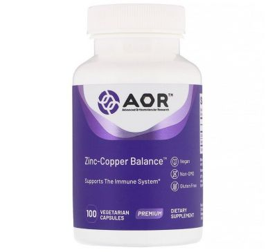 Advanced Orthomolecular Research AOR, Zinc-Copper Balance, 100 вегетарианских капсул