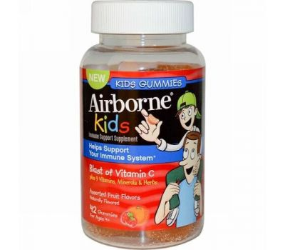 AirBorne, Kids, Blast of Vitamin C,  For Ages 4+, Assorted Fruit Flavors, 42 Gummies