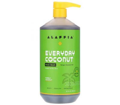 Alaffia, Everyday Coconut, Body Wash, Normal to Dry Skin, Purely Coconut, 32 fl oz (950 ml)