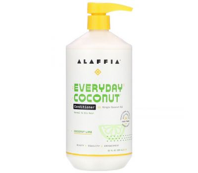 Alaffia, Everyday Coconut, Conditioner, Normal to Dry Hair, Coconut Lime, 32 fl oz (950 ml)