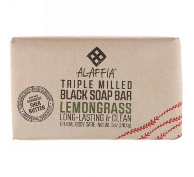 Alaffia, Triple Milled Soap Bar, Lemongrass, 5 oz (140 g)