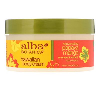 Alba Botanica, Rejuvenating Papaya Mango Hawaiian Body Cream, 6.5 oz (184 g)