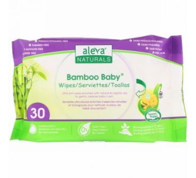 Aleva Naturals, Bamboo Baby Wipes, 30 Wipes