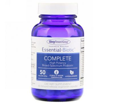 Allergy Research Group, Essential-Biotic, Complete, 50 Billion CFU's, 60 Delayed-Release Vegetarian Capsules