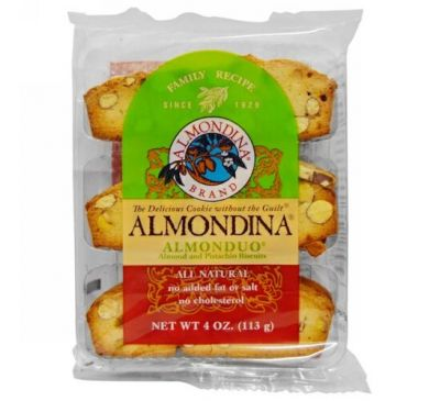 Almondina, AlmonDuo, Almond and Pistachio Biscuits, 4 oz.