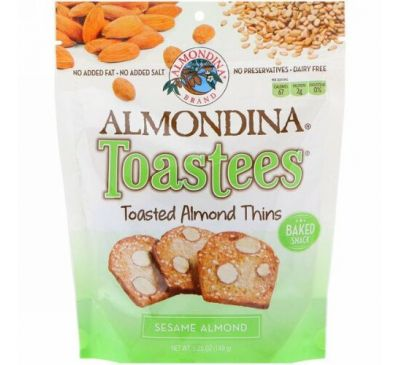 Almondina, Toastees, Sesame Almond, 5.25 oz