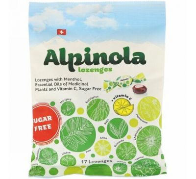 Alpinola, Lozenges with Menthol, Essential Oils and Vitamin C, Sugar Free, 17 Lozenges