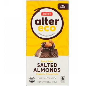 Alter Eco, Organic Chocolate Bar, Deep Dark Salted Almonds, 70% Cocoa, 2.82 oz (80g)