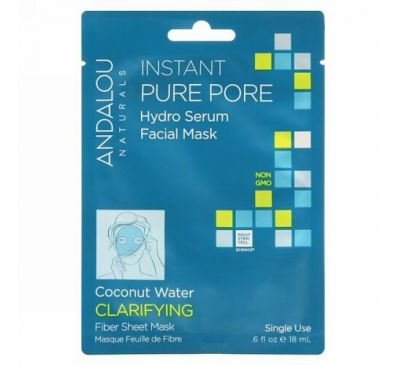Andalou Naturals, Instant Pure Pore, Hydro Serum Facial Mask, 1 Single Use Fiber Sheet Mask, .6 fl oz (18 ml)