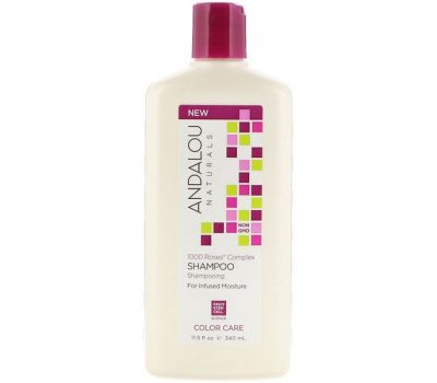 Andalou Naturals, Shampoo, Color Care, For Infused Moisture, 1000 Roses Complex, 11.5 fl oz (340 ml)