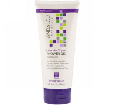 Andalou Naturals, Shower Gel, Refreshing, Lavender Thyme, 8.5 fl oz (251 ml)